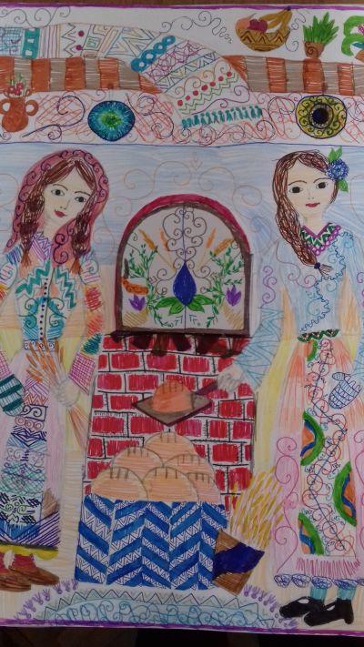 "Рисунката спечелила първо място - ""Работливите българки"" на Джая - Раде Дейвис - 9 ОУ Пейо Крачолов Яворов - Благоевград"